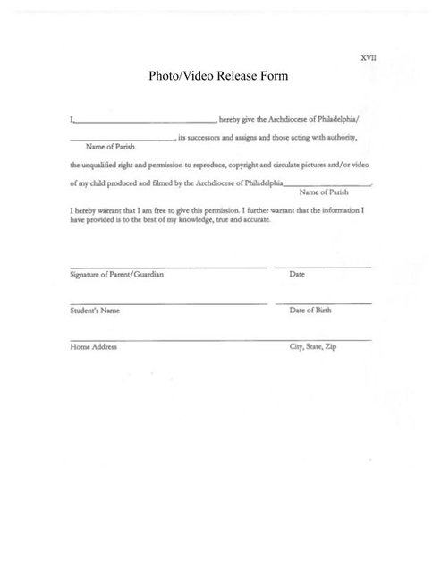 Photo Permission Form - St. Catherine Of Siena